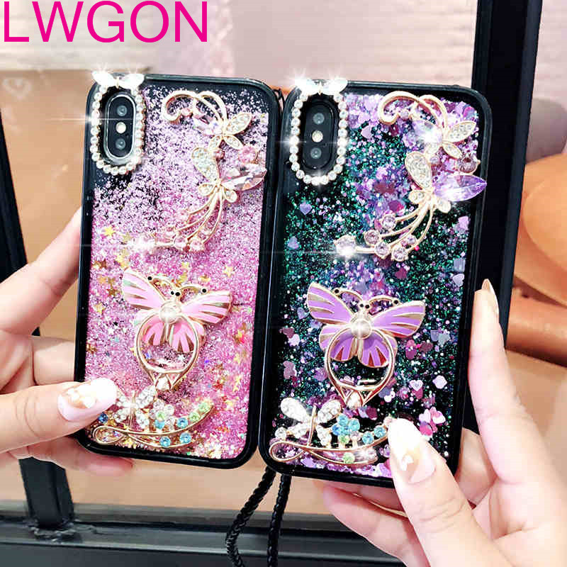 3D Diamond Flower Love Heart Liquid Silicone Soft TPU Phone Cases For Oppo R7 S R9 R9S R11 S Plus R15 X R17 Pro K1 Diamond Case