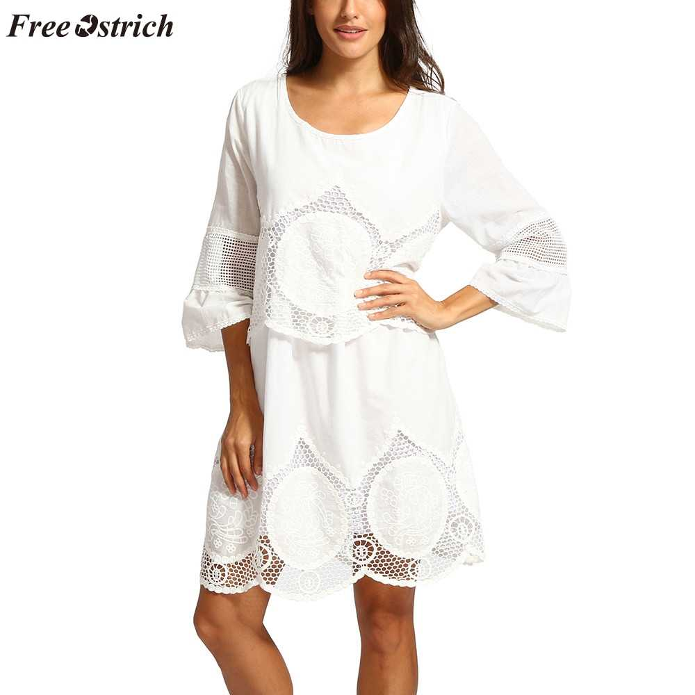 FREE OSTRICH Lace dress fashion large size white openwork embroidery hollow round neck bohemian beach Europe and America dress