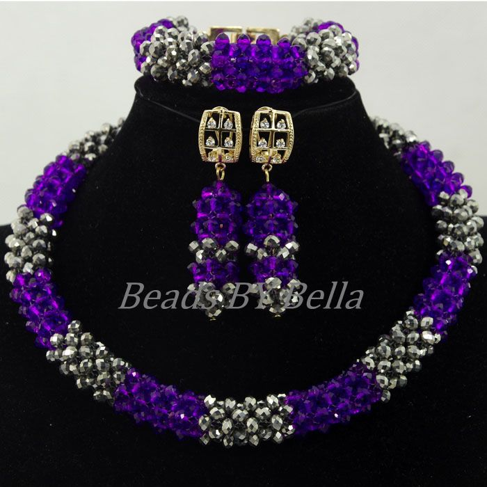 Hot Sale Purple/Silver Crystal Beads African Wedding Nigerian Women Party Choker Necklace Lace Jewelry Sets Free Shipping ABK957Hot Sale Purple/Silver Crystal Beads African Wedding Nigerian Women Party Choker Necklace Lace Jewelry Sets Free Shipping ABK957