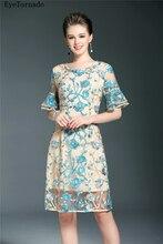 Diseñador de Moda 2017 de Las Mujeres Del Verano Marca Bordado de La Flor Corta Partido Bodycon Vestido de Malla Sexy Ver A Través de Trabajo Más El tamaño 9384