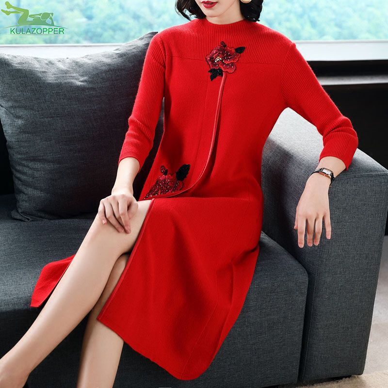 Embroidery women dress autumn winter new sweater dress knitted fashion chinese style O-neck knee-length slim dress female ER105 autumn winter women knitted dresses new fashion sheath bodycon pencil dress long sleeve sexy v neck solid slim knee length dress