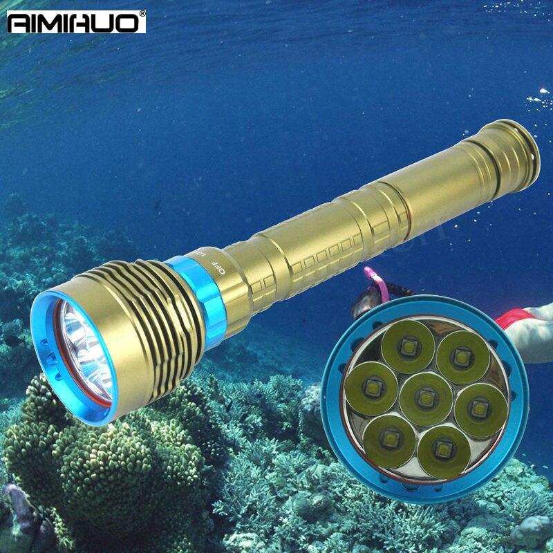AIMIHUO 7L2 XML-LED plongée lampe de poche lumière forte et longue distance en plein air équitation 18650 étanche multi fichier profondeur de plongée 200 m
