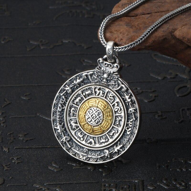 Mode hommes charmes 925 pendentif en argent Sterling collier Style Vintage rond Design pendentif mâle bijoux en argent cadeau garçon