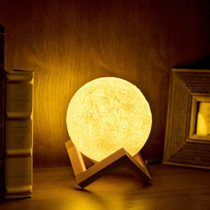 USB Charging 3D Printing Moon Lamp Nightlight 2 Color Change Touch Sensor Night Light Home Decoration Lamp with Wood Holder magnetic floating levitation 3d print moon lamp led night light 2 color auto change moon light home decor creative birthday gift