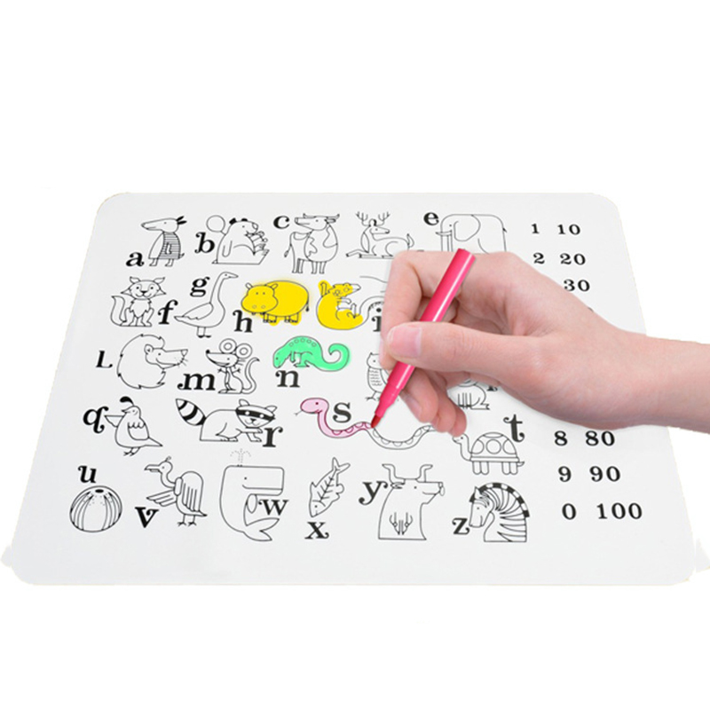 Baby Waterproof Silicone Dinnerware Reusable Cartoon Graffiti Mat Coloring Placemat Kids Feeding Dishes Mat NBB0323