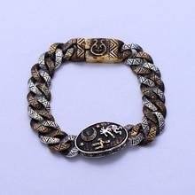 S925 Sterling Silver Vintage Old wide silver bracelet Mens ethnic bracelet