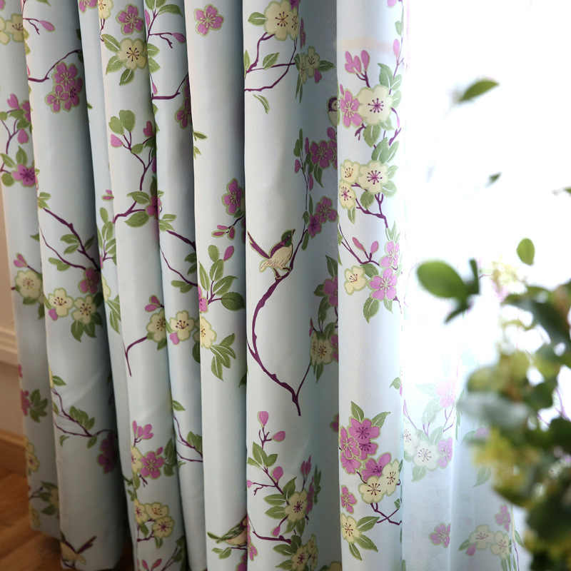 Flower And Bird Printed Ready Made Blue Curtain Fabric Tulle For
