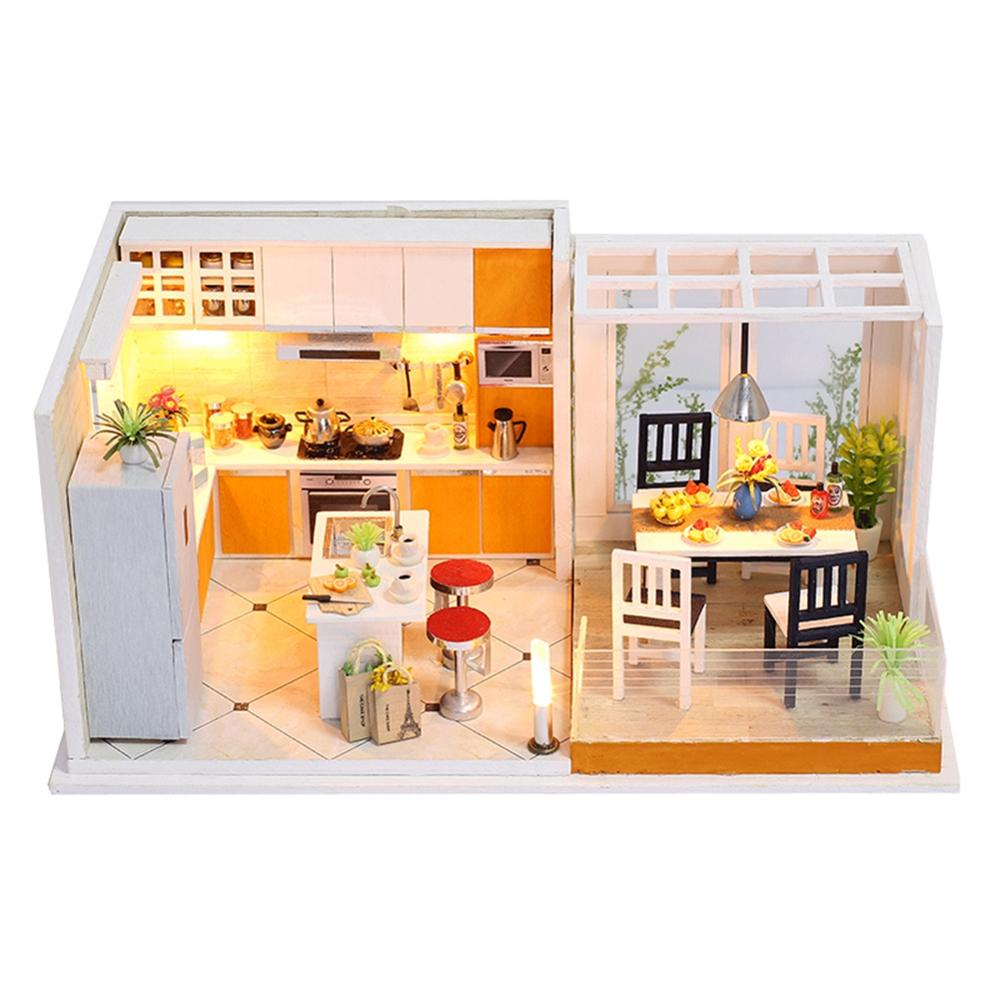 YOSOO Doll House Miniature Dollhouse With Furniture Kit Dust Cover 3D Wooden House Miniatures Toys For Children Gift in Doll Houses from Toys Hobbies
