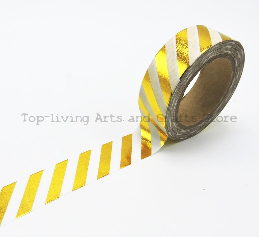 New Golden Foil Washi Tape 10M Length Kawaii Scrapbooking Tools Japanese Stationery  Quality Scrapbook