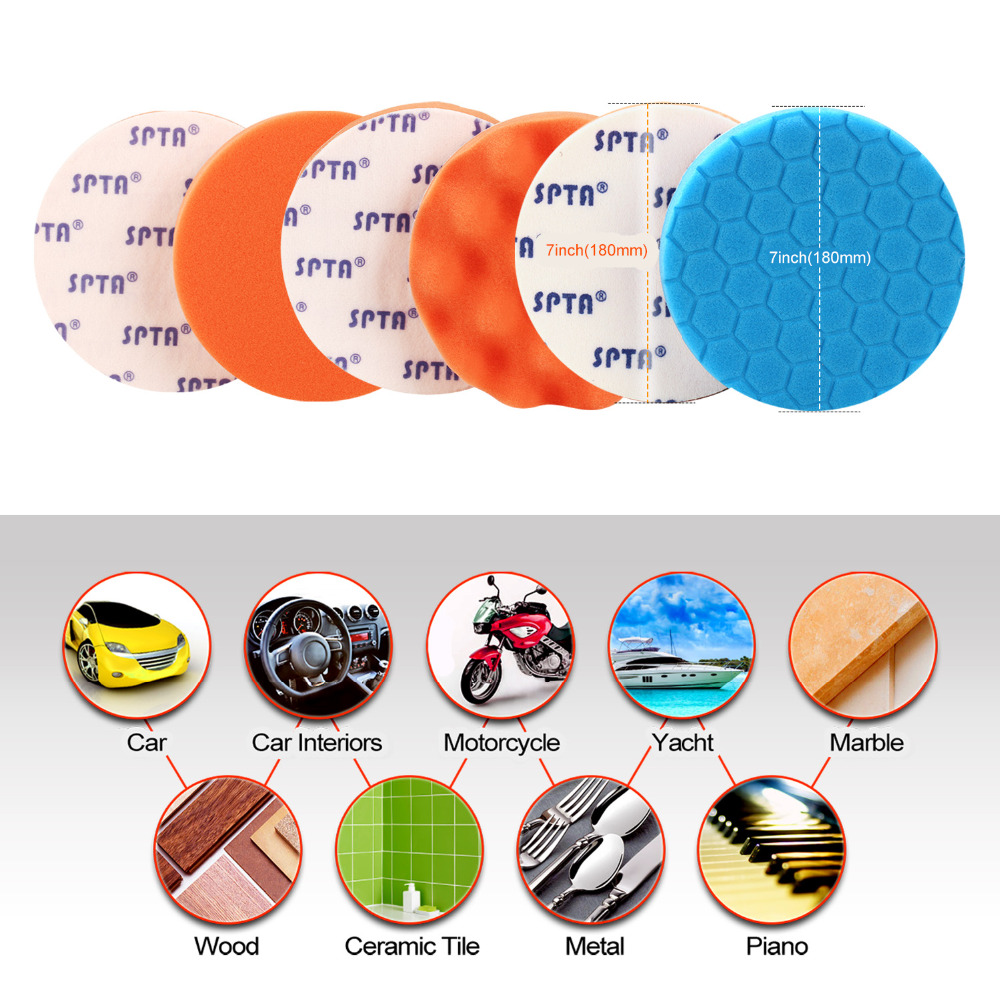 "6PCS 6/"" 148mm Waxing Buffing Polishing Foam Sponge Set Car Polisher Pads"