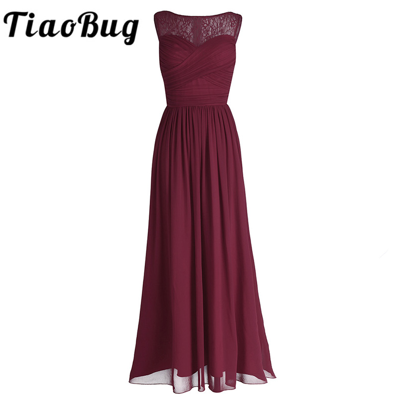 TiaoBug Women Ladies Chiffon Empire Lace Bridesmaid Dress Prom Gown Sleeveless A-Line Pleated Padded Long Wedding Party Dresses