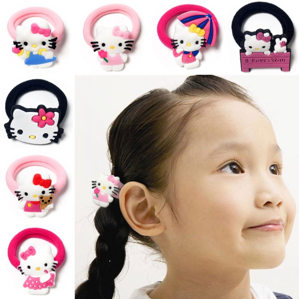 10pcs/lot Hello Kitty Cute Baby Girls Hair Accessories Hair Bands Elastic Hair Ropes Ponytail   Headwear   Girls Party Small Gift