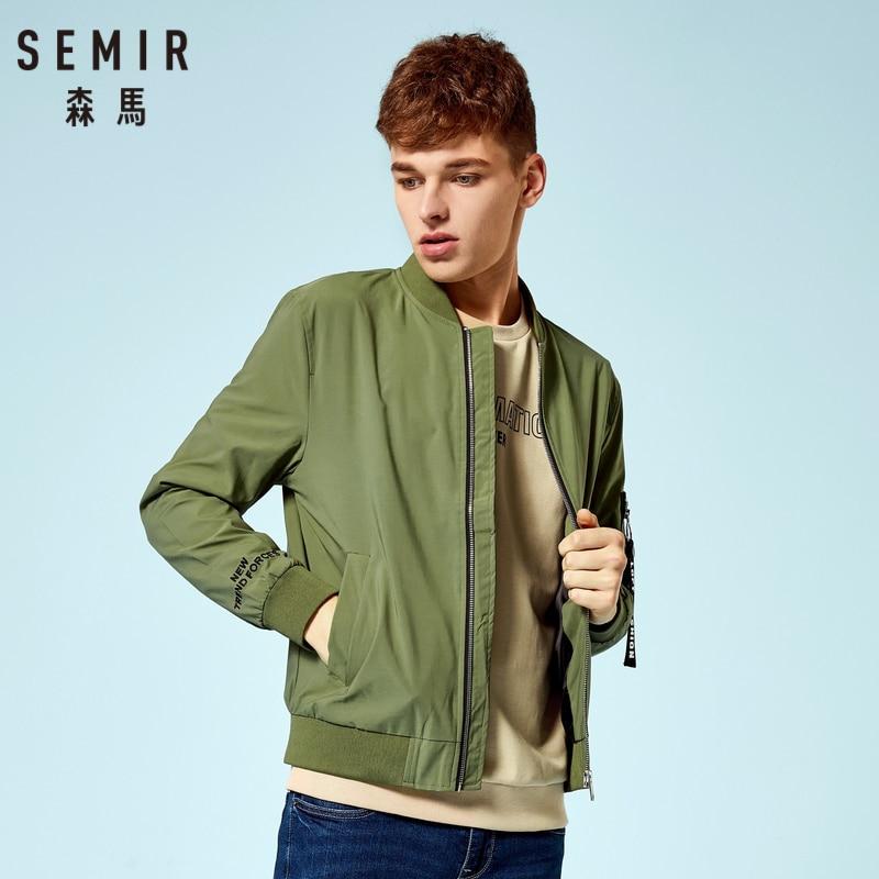 SEMIR Men Baseball Jacket With Tab Sleeve Man Zip Bomber Jacket With Pocket Ribbing At Cuff And Hem Streetwear For Autumn