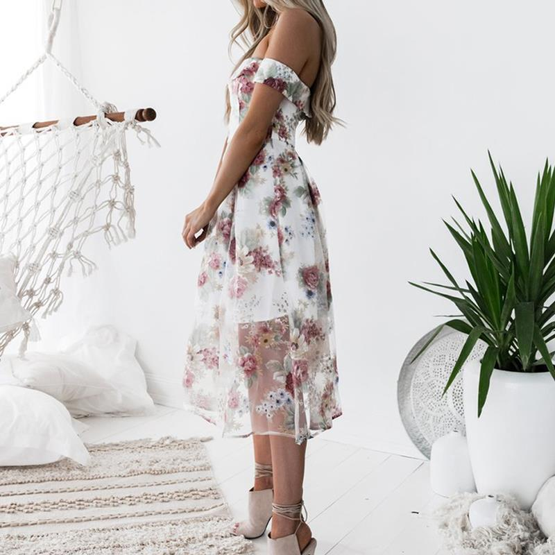 HTB10TE4iZrI8KJjy0Fhq6zfnpXa2 - FREE SHIPPING Women Summer Dress 2018 Floral Printed Off Shoulder JKP406