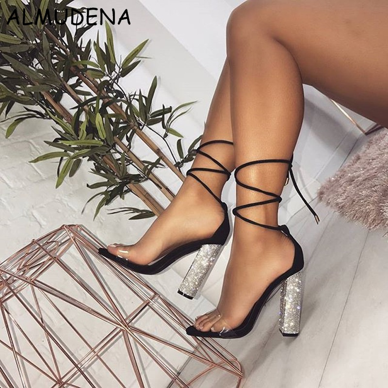 85b3381509ca6 ... Simple Shoes Bling Heel Transparent Fashion Bling Summer Sandal Chunky  Crystal Lace High PVC up Film ...