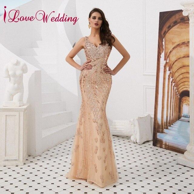 19430c65f8 iLoveWedding 2019 Sexy V Neck Gold Sequin Crystal Beaded Sleeveless V Back  Luxurious Formal Evening Dresses