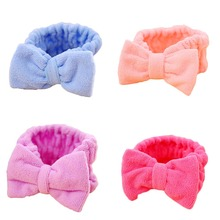 Fashion Women Beauty Makeup Bow Headband Bath Wash Face Elastic Towel Headwear Female Hair Holder Bands Headwear
