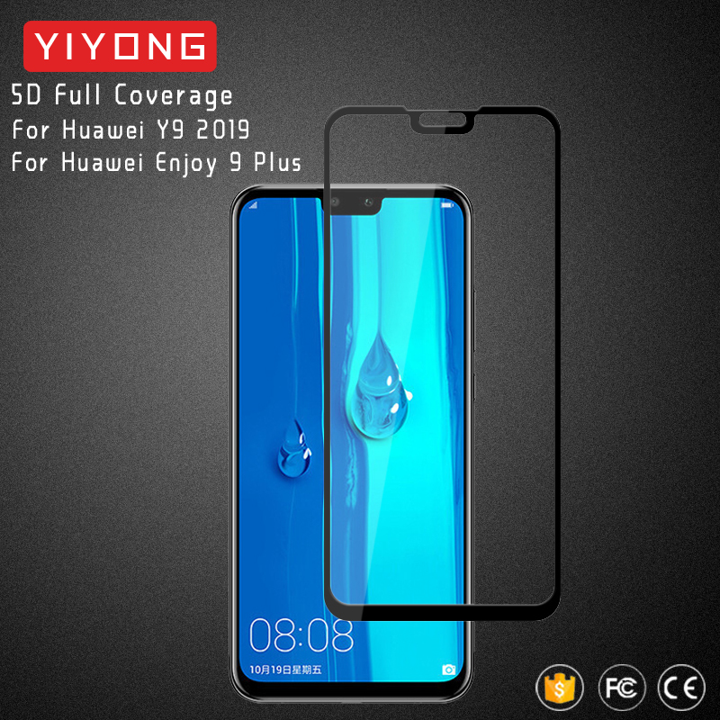 25Pcs Lot YIYONG 5D Full Cover Glass For Huawei Y9 2019 Tempered Glass Screen Protector For