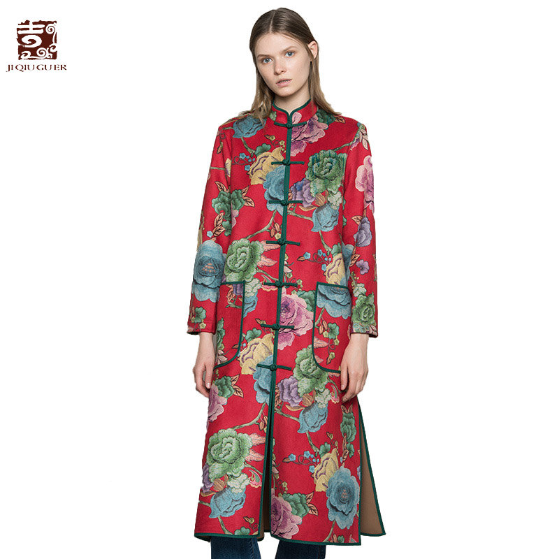 8b2572fac55 Jiqiuguer Women Flowers Print Suede Trench Vintage Plus Size Wide-waisted  Single Breasted Long Casual