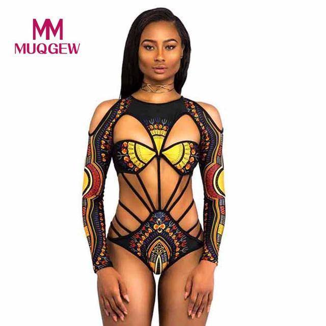 9b7a490f9f MUQGEW One Piece Swimsuit Swimwear Women 2018 Push Up Bathing Suit African  Print Monokini Bodysuit Bandage Beach Wear Swim Suit