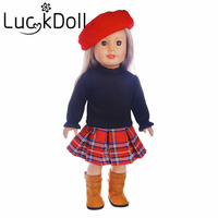 LUCK DOLL New Arrivals 1set Hat Dress Skirt Skirt Fit 18 Inch American Girl Doll Children
