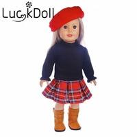 LUCK DOLL New Arrivals 1set Hat Dress Skirt Skirt Fit 18 Inch American Girl Doll Children