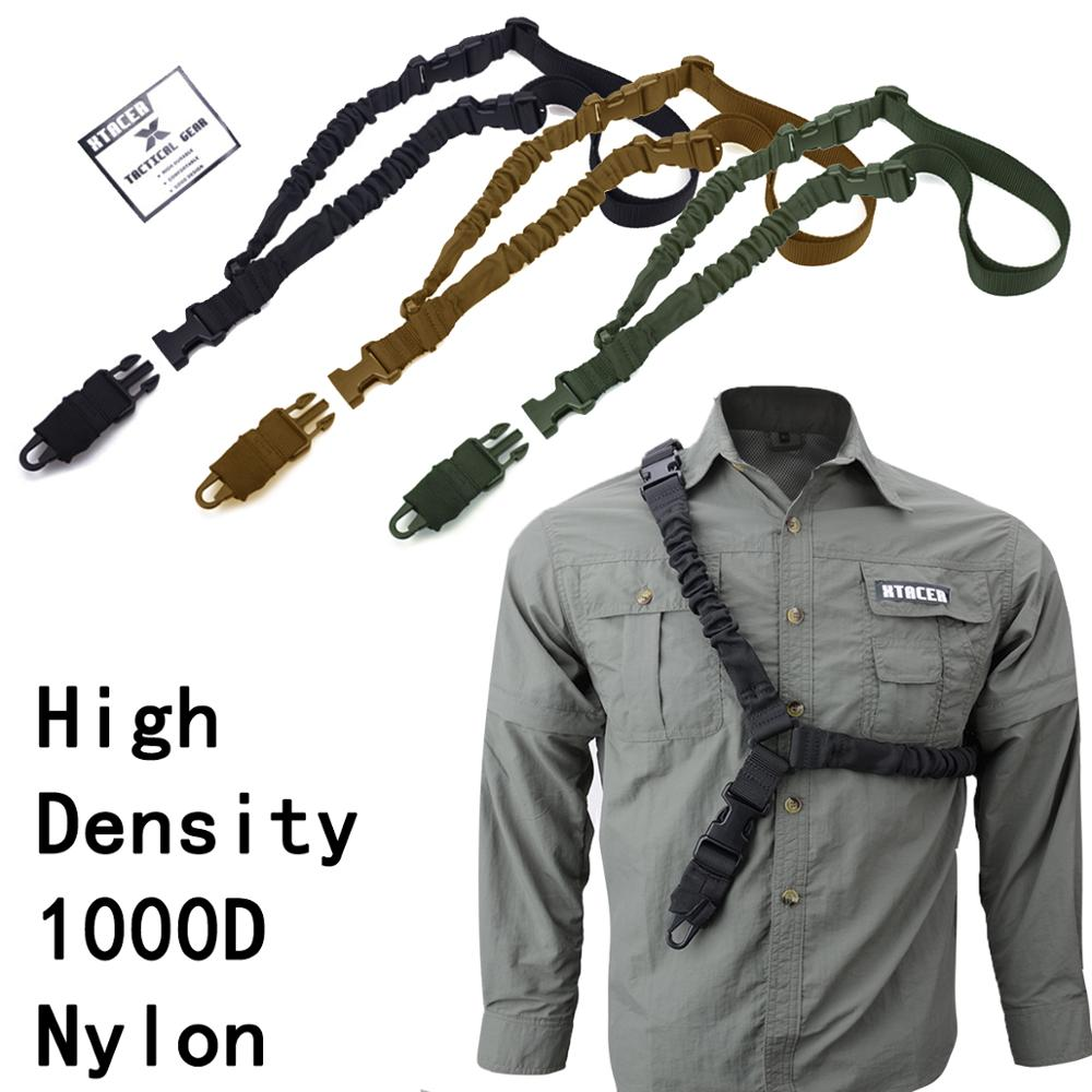 1000D Single Point 1-Point One Point Heavy Duty Mount Bungee Military Rifle Sling Adjustable Tactical Green Black Tan Gun Sling(China)