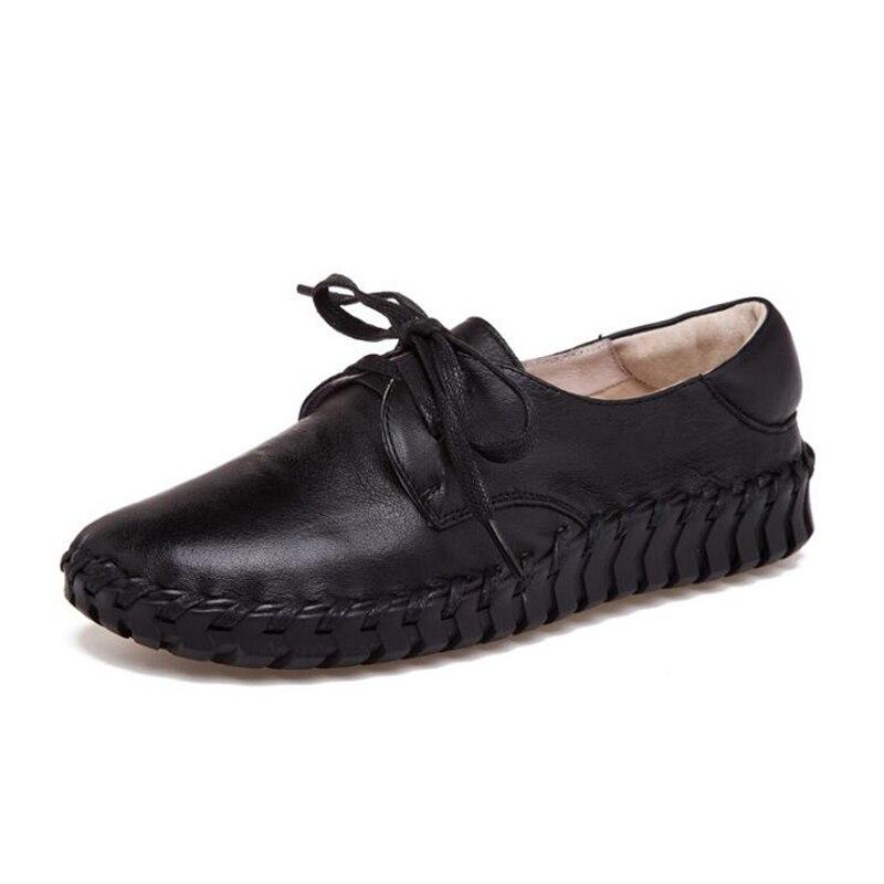 K158 Mocassins 2 Et Nouvelle Femmes Automne 1 Main Plat Bout 3 Chaussures 2018 Rond Casual Véritable Cuir 5 Printemps En 4 up Dentelle OaTxxHnq