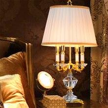 Modern Nordic Crystal Table lights Bedroom Table Lamps Fabric Lampshade Living Room Decoration Abajur Bedroom Lamparas De Mesa