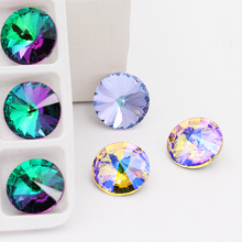 14mm Crystal Stone Glass rivoli glue rhinestones for clothes stones decoration garment applique accessories strass crafts