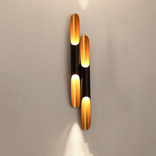 Post Modern Wall Light Lamp Sconce LED up down Aluminum Pipe Wing 2 Lights black golden wall lamp light Bedroom