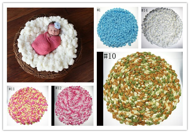 80*80CM Newborn Photography Props White Round Blanket Large Sphere Wave Ball Blanket Baby Props Crochet Knitted Pom Pom Blankets