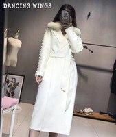 Шерстяное кашемировое пальто ручной работы с жемчужными рукавами, Осеннее женское роскошное пальто из натурального белого лисьего меха, дв
