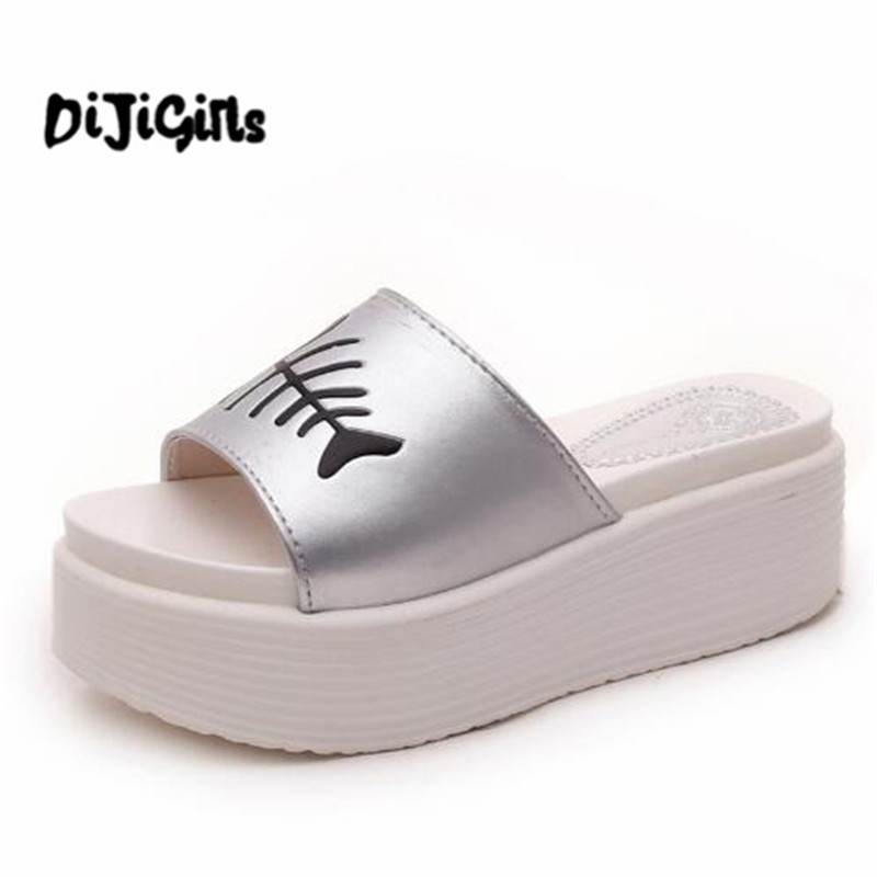 6cm High Heels Women Slides Ladies Slippers Sandals Flips Flops 2018 Summer Beach Platform Shoes Woman Fashion Comfortable Flats women sandals 2017 summer shoes woman wedges fashion gladiator platform female slides ladies casual shoes flat comfortable