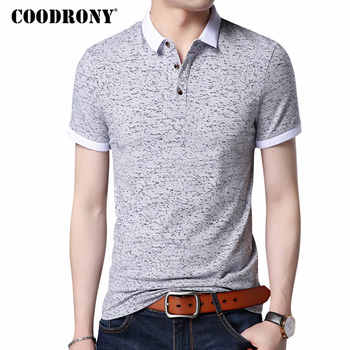 COODRONY Small Turn-down Collar Top Homme Casual Print Tee Short Sleeve T Shirt Men Brand Clothing Slim Fit Cotton T-Shirt S7643 - DISCOUNT ITEM  49% OFF All Category