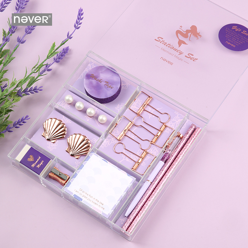 Image 3 - Never Mermaid Series Christmas Stationery Set Binder Paper Clips Ballpoint Pen Memo Pad Washi Tape Business Office Gift Sets-in Stationery Set from Office & School Supplies