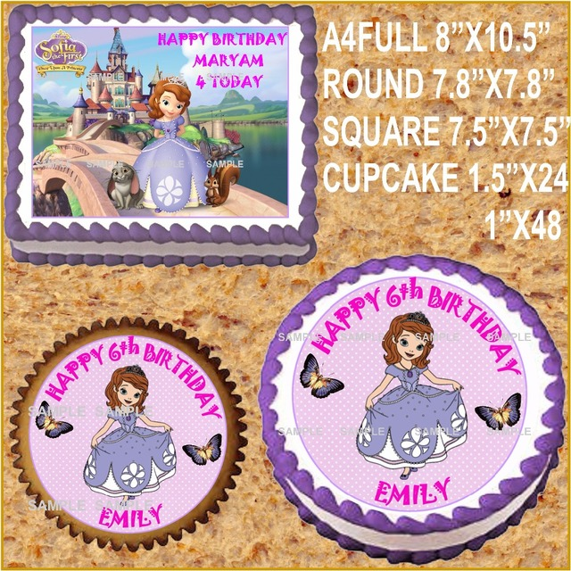 Princess Sofia Edible Cake Topper Wafer Rice Paper For Cupcake Cookie Decoration Custom Birthday Decor Free Shipping