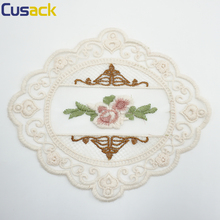 2 pcs Embroidered Flower Mesh Lace Applique Trims for Covers Curtain Home Textiles Sewing Strip Ribbon Lace Fabric Beige