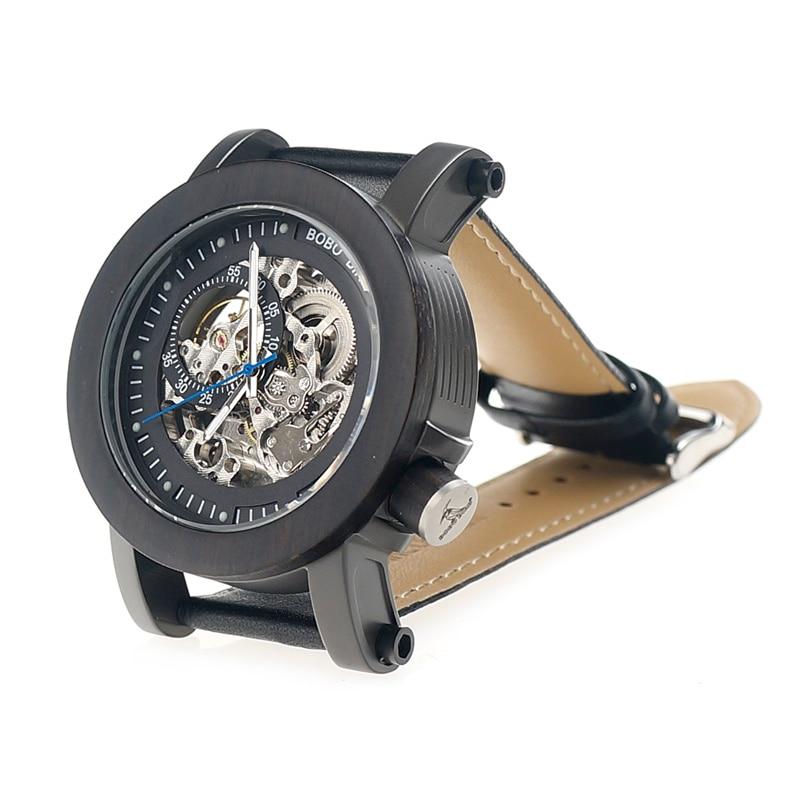 Bobo bird 럭셔리 브랜드 남자 기계식 시계 블랙 나무 시계 정품 가죽 스트랩 relogio masculino 목재 선물 상자 k10-에서기계식 시계부터 시계 의  그룹 2