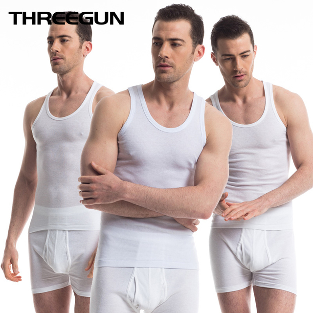 THREEGUN 3PCS Cotton Men Close Fitting Vest Elastic Leisure Plus Size Breathable Sweat Absorbing Solid O-neck Undershirts Tank