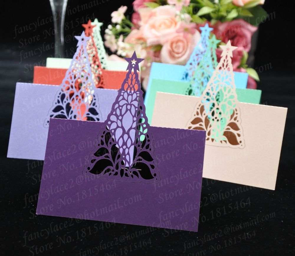 50pcs Christmas tree Place Name Cards Paper Wine Glass Cup Table Invitation Card Christmas Party Invitation Card Decoration