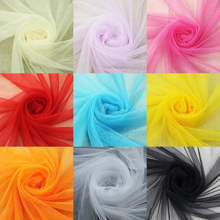 Zachte tule mesh stof 160 * 100 cm voor trouwjurk doek Netting klamboe Effen kleur Zachte pettiskirt sluier baljurk tutu
