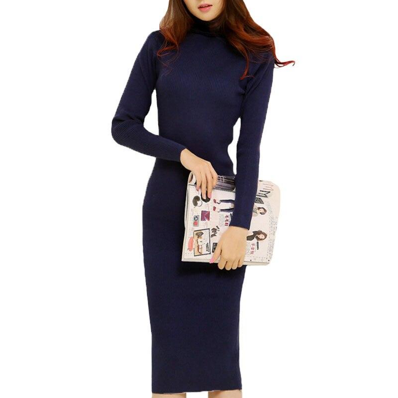 Fashion 2016 Women Autumn Winter Sweater Dresses Slim Turtleneck Sexy Bodycon Solid Color Robe Long Knitted Dress kp1398 dabuwawa 2016 slim fashion gray jeans women autumn