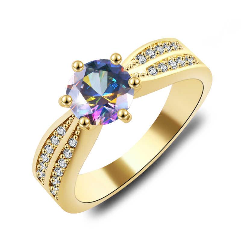 2019 ใหม่แฟชั่นเครื่องประดับงานแต่งงาน Rainbow แหวนโอปอล CZ Rose Gold Filled Engagement แหวนของขวัญวาเลนไทน์วัน