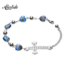 Atoztide Vintage Cross Bracelet Blue Heart Chain Link Bangles Shiny CZ Stone Strand Bracelets for Women Summer Gifts