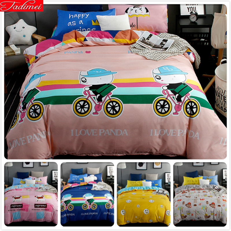 Skillful Knitting And Elegant Design Student Kids Bedlinens 3pcs 4pcs Bedding Set 1.5m 1.8m 2.0m Bedsheet Duvet Cover Pillow Case 3/4 Pcs Suit King Queen Double Size To Be Renowned Both At Home And Abroad For Exquisite Workmanship Solar