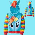 Brand baby kids sport jacket fashion zipper coat Sweatshirts Children's clothing sweater cartoon my pony hoodies with wings