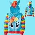 Marca bebê crianças esporte jaqueta moda zipper moletons brasão Children ' s roupas sweater dos desenhos animados my pony hoodies com asas
