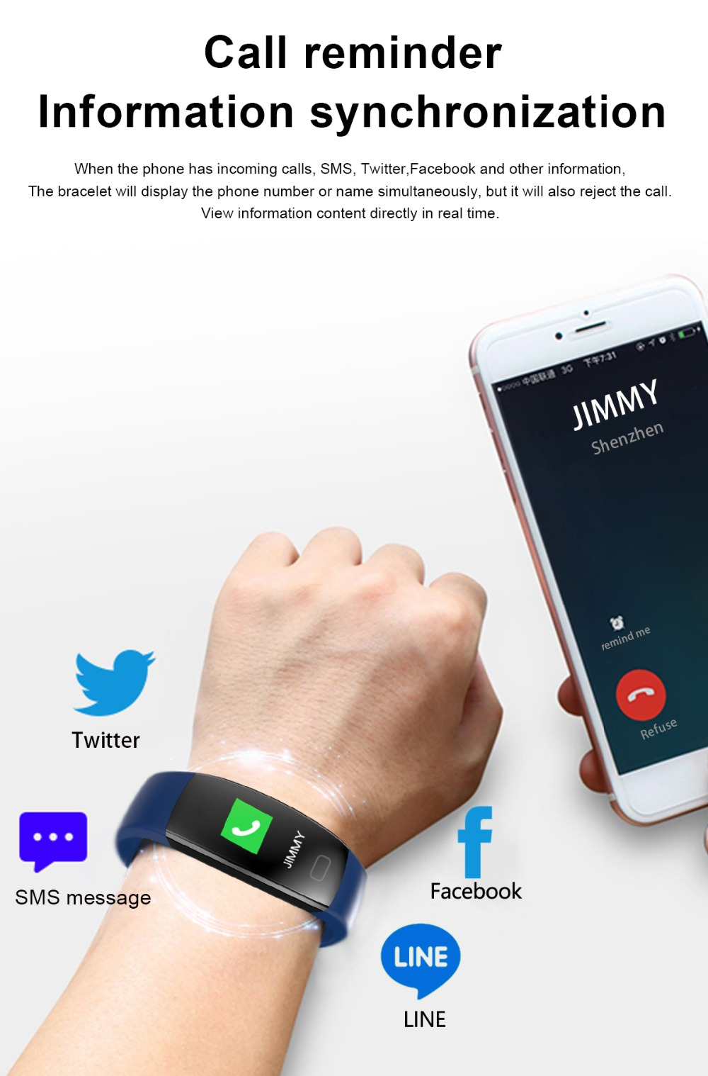 Smart Wristband Heart Rate Monitor for Android IOS