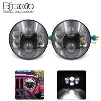 2pcs Lot 7 Inch 80w Round LED Headlight With DRL High Low Beam Led Chip